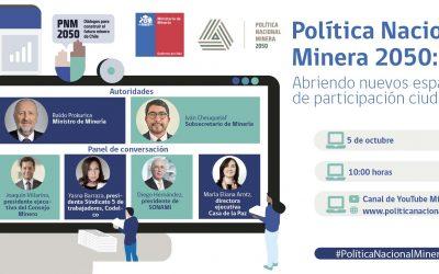 Ministerio de Minería realizará el lanzamiento de la fase virtual de la Política Nacional Minera 2050
