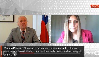"""[VIDEO] Ministro de Minería por Covid-19: """"El 70% de los trabajadores que estaban enfermos se contagiaron en los periodos de descanso"""""""
